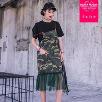 Mesh patchwork camouflage Spaghetti Strap dress+tees 2 pieces sets loose short sleeve summer new fashion women dress female g500