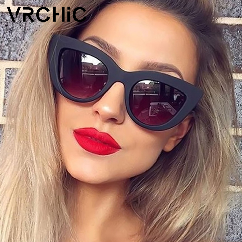 цена на VRCHIC Retro Thick Frame Cat Eye Sunglasses Women Ladies Brand Designer Mirror Lens Cat Eye Sun Glasses For Female oculos de sol