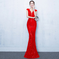 Sequins 2018 Women Dresses Sexy Long Elegant Bodycon Mermaid Robe Prom Evening Party Plus Size Dress Summer Red Mesh Lace Dress