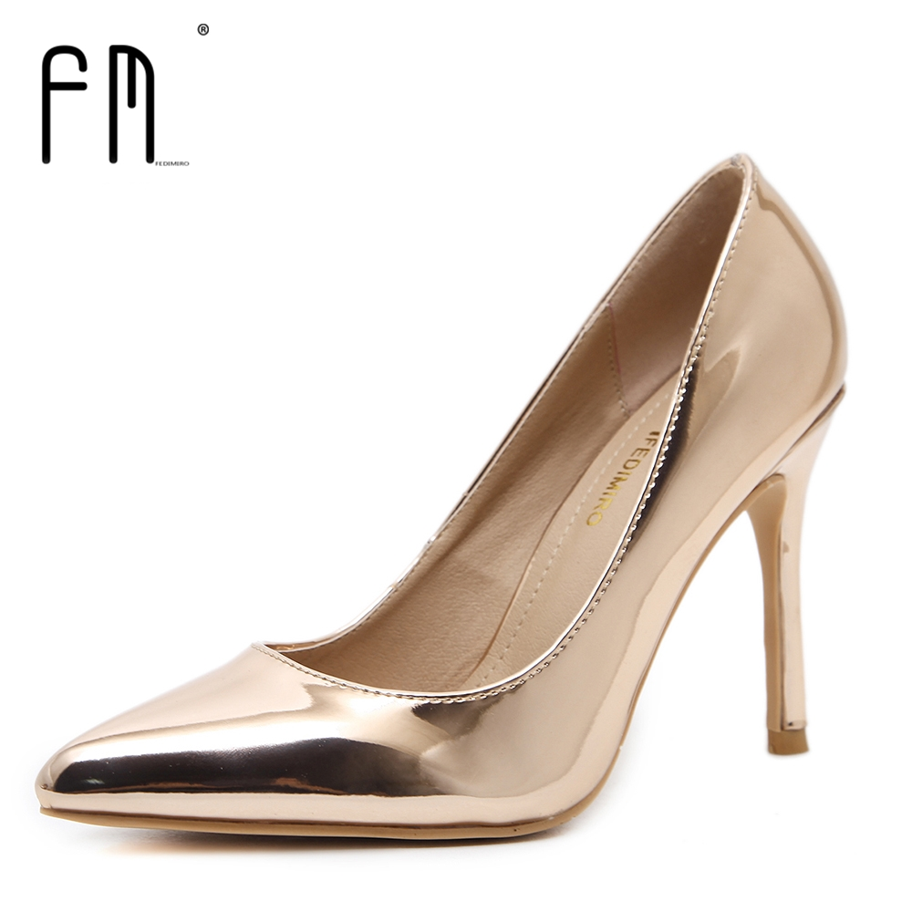 2016 new fashion shoes woman snake patent leather sexy casual style flower shallow mouth women flats rhinestone women s shoes FEDIMIRO Brand Concise Patent Leather Woman High heels 9.5CM Shallow Mouth High heel shoes Casual Pointed toe women pumps 34-42