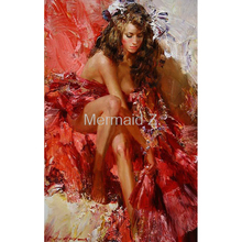 Hand Painted high quality Abstract Spain red skirts girl Oil Painting Canvas Decoration Home Wall Living Room Artwork Fine Art