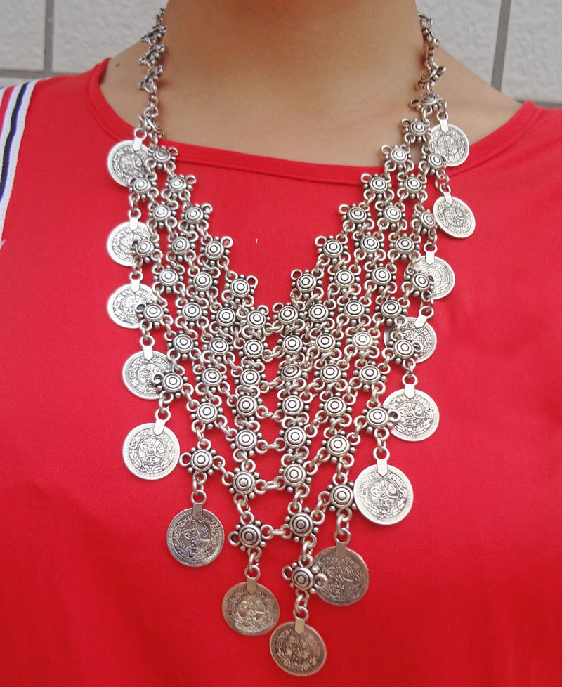 Bohemian Carving Flower Antalya Coin Bib Statement Necklace Silver Turkish Gypsy Boho Jewelry
