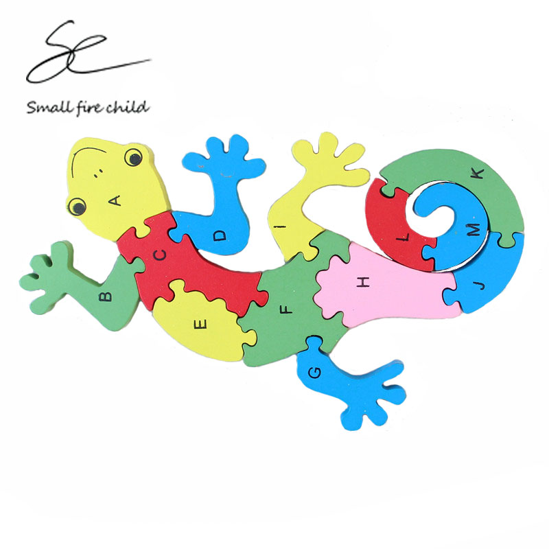 2017 New early education to understand the number of letters color three-dimensional <font><b>puzzle</b></font> wooden children <font><b>puzzle</b></font> <font><b>gecko</b></font> toys