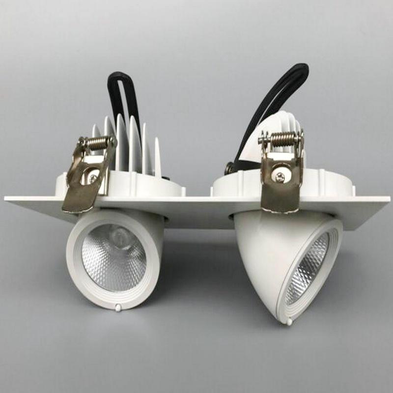 2x12W CREE tournent 360 degrés Dimmable Double têtes COB aluminium encastré carré 24W COB LED plafonnier Downlight 5 ans de garantie