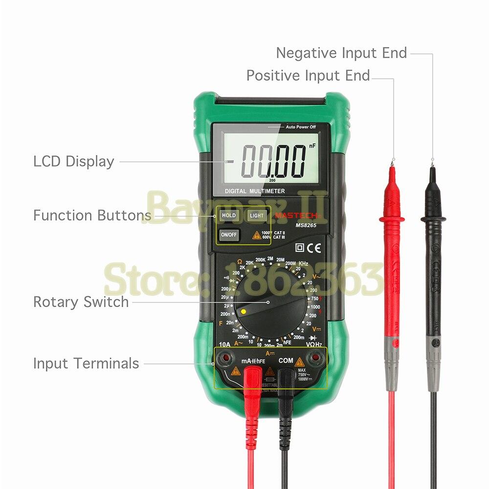 Multimetro Conteggio Automatico 4000 Misuratore di Umidit/à di Temperatura MASTECH MS8229 Multimetro Digitale Multifunzione 5 in 1