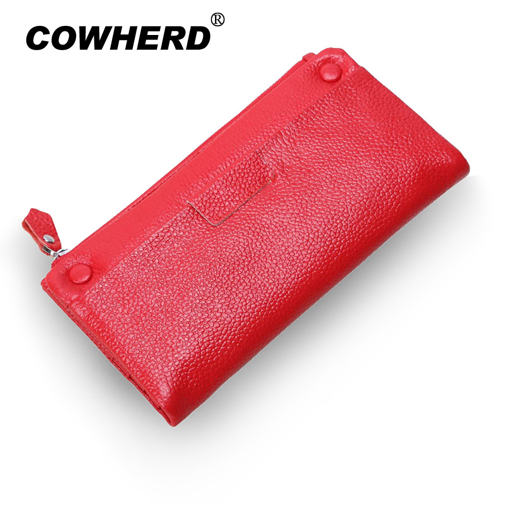 New Big Capacity Wallet Soft First Layer Cow Leather Wallets Real Genuine Leather Lady Women Wallet Clutch Bag Zipper Purse