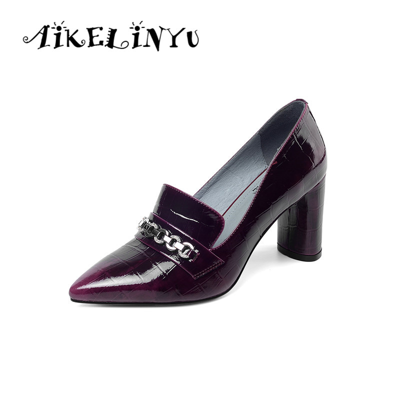 AIKELINYU Patent Leather Pumps Classic Sharp End Metal Chain Pumps Office Career Women High Heeled Shoes Handmade Simple Style(China)
