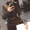 [CHICEVER] 2017 Spring Bright Wire Sexy Perspective Mesh Pullovers Long Sleeve T-shirt Women New Fashion Clothing