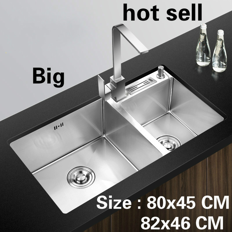 Free Shipping Hot Sell Apartment Vogue Kitchen Manual Sink Double Groove Food Grade 304 Stainless Steel 80x45/82x46 CM