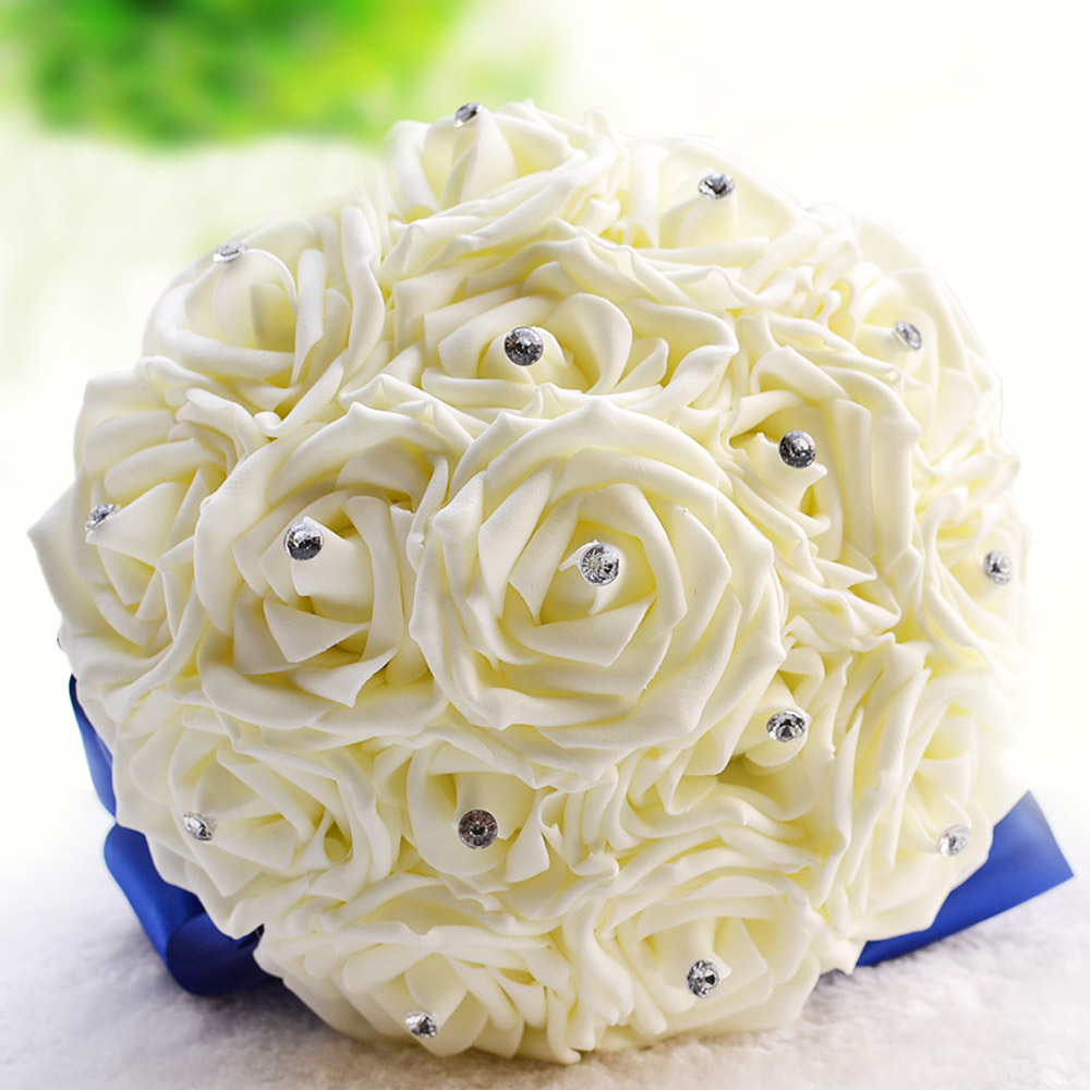 Customized Wedding Artificial Flowers Crystal Rose Romantic Fake
