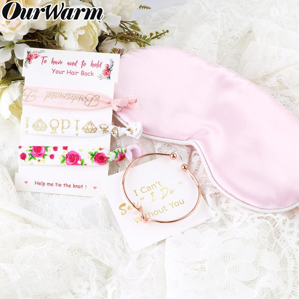 OurWarm Bridesmaid Gift Bracelet Hair Tie Eye Mask for Guest Team Bride Bridal Shower to Be Wedding Souvenir Party Favor