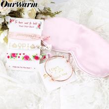 цена OurWarm Bridesmaid Gift Bracelet Hair Tie Eye Mask for Guest Team Bride Bridal Shower Bride to Be Wedding Souvenir Party Favor