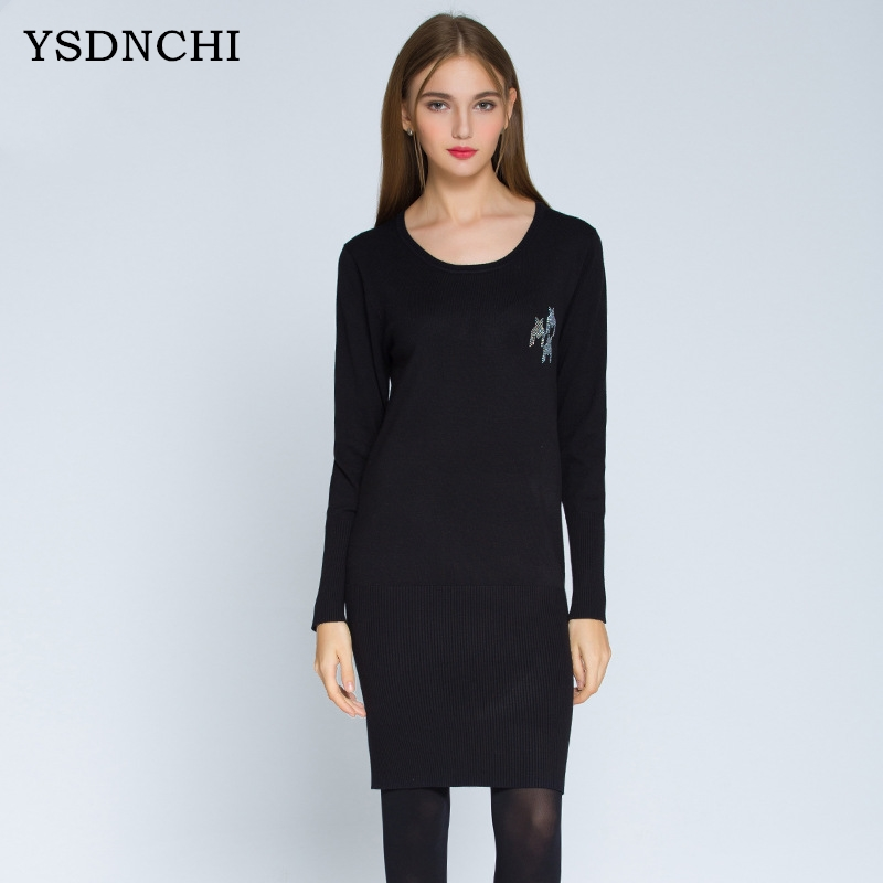 YSDNCHI Autumn Winter Knitted Bottoming Pullover Women Dress Sweater Casual Round Collar Hot Drilling Hedging Sweaters Dresses