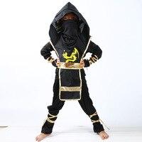 أسود ninjago تأثيري زي الفتيان الملابس مجموعات الأطفال الملابس هالوين عيد الميلاد يتوهم حزب ملابس النينجا خارقة الدعاوى