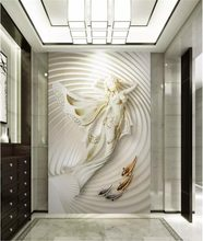 Custom Wallpaper 3d Fashion Beautiful Mermaid 3D Relief Indoor Porch Background Wall Decoration Mural Wallpaper(China)