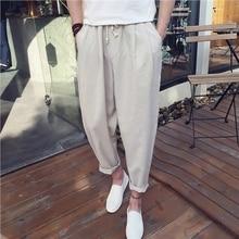 M-5XL!!!Men's clothing linen breathable male casual ankle length trousers drawstring plus size loose harem pants