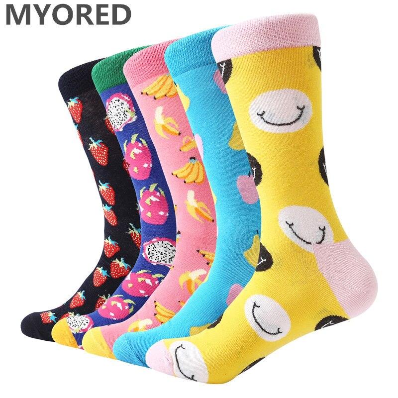 MYORED Wedding-Socks Party-Sock Combed Cotton Novelty Colorful Men Cartoon Fashion Fruit