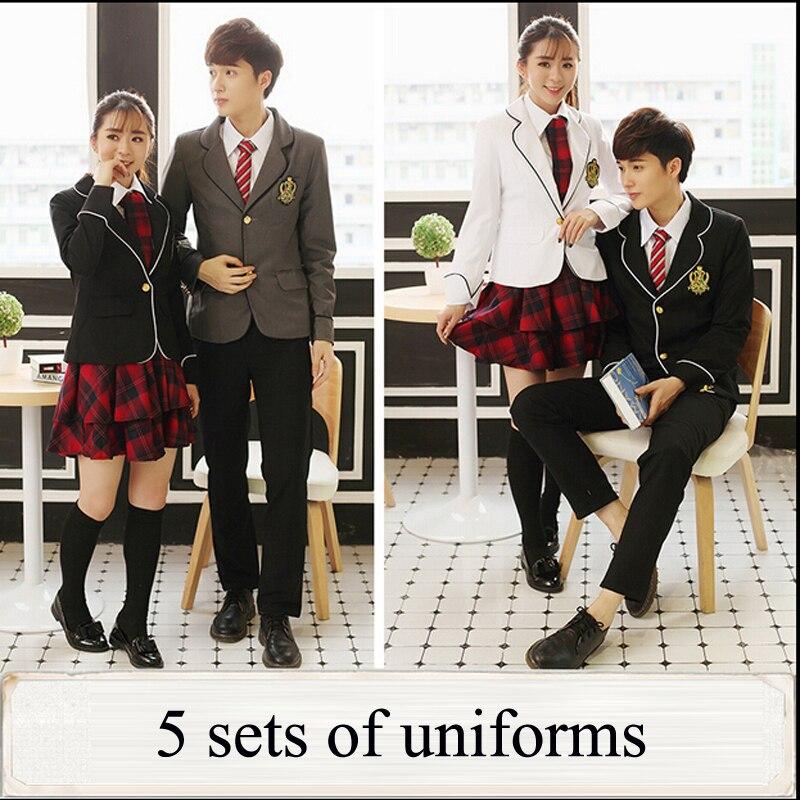 Uniforme scolaire japonais britannique pour filles et garçons hiver lycée Senior cardigan chemise jupe à carreaux femmes survêtement 5 ensembles - 3
