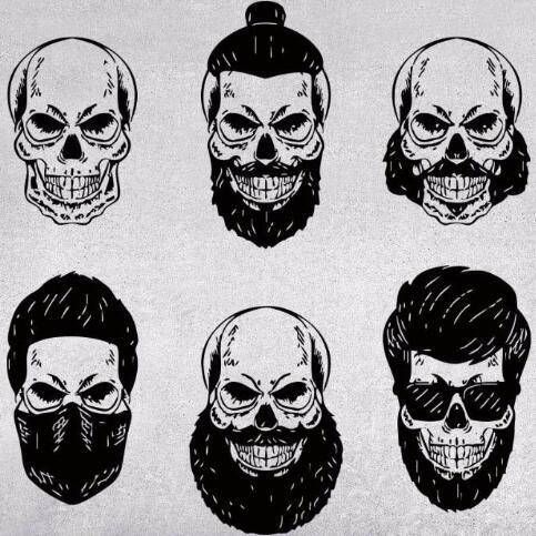 Skull wall decal hipster skull signboard barber shop beard logo mural wall sticker hair salon window
