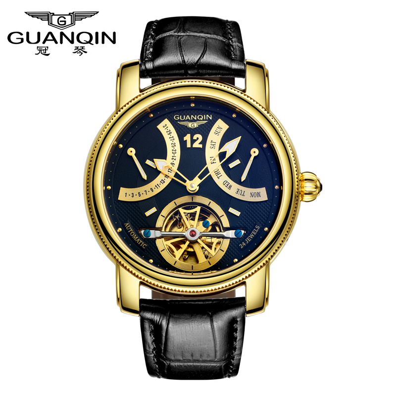 все цены на Luxury Brand GUANQIN 2015 Fashion Tourbillon Watches Men Gold Wristwatches automatic Mechanical Watches Luxury
