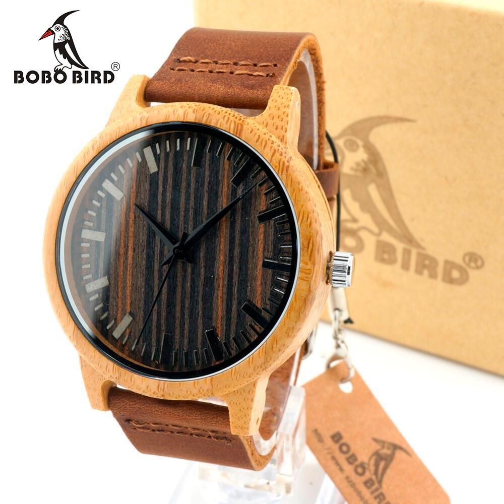 Prix pour Bobo bird 2016 hommes de blanc en bois d'érable montres avec bande de cuir véritable de luxe bois montres pour hommes meilleurs cadeaux point