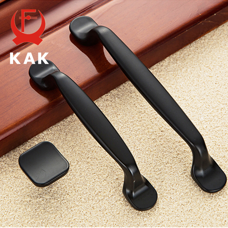 KAK American Style Handles Simple Cabinet Drawer knobs Handles Black Wardrobe Door handles pulls 96mm 128mm hole distance