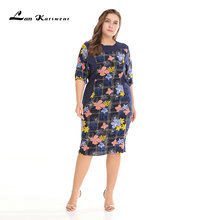 Lan Karswear spring autumn Dress Half sleeved splice Slim Women Dress Flower Print Chiffon Dresses Plus Size XXXL Free shopping(China)
