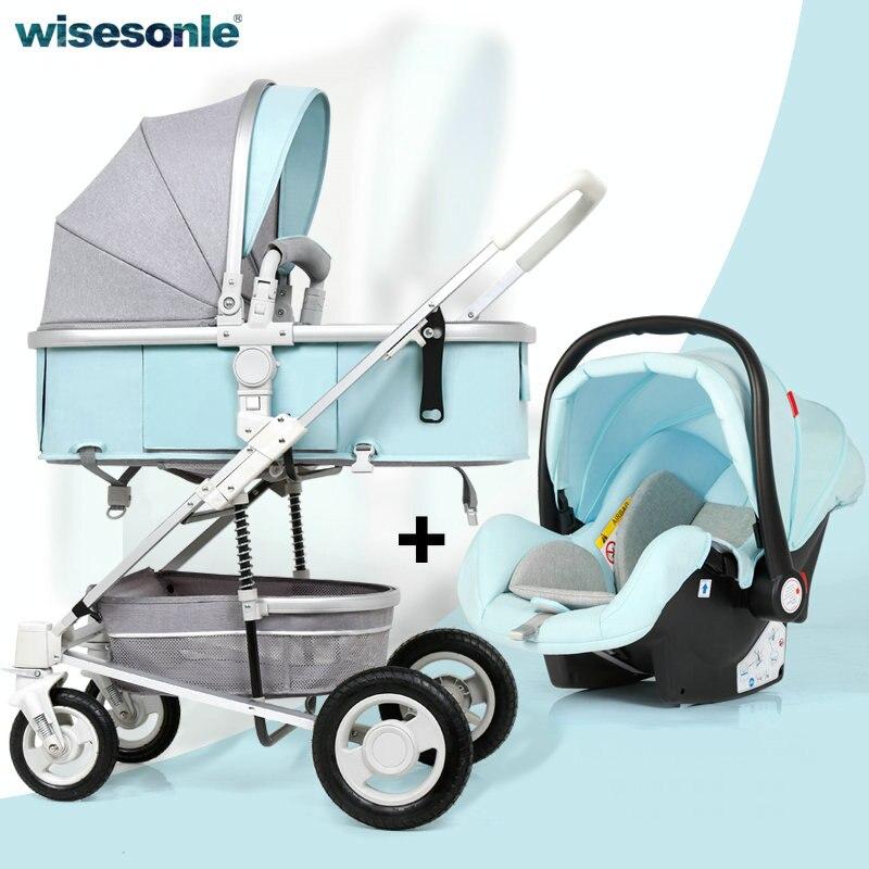 3 en 1 bébé poussette avec voiture siège de sécurité ensemble, roue en caoutchouc bébé chariot avec berceau, haut paysage bébé landau avec couvre-pied
