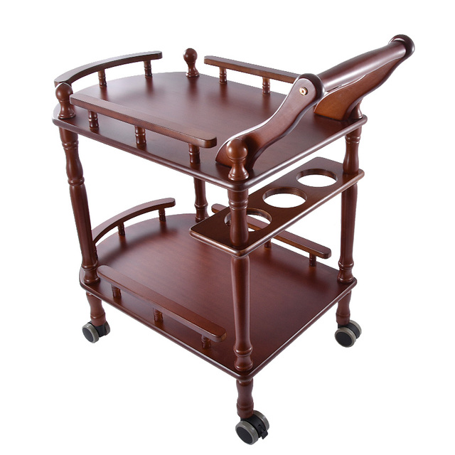 New Hotel Trolley Solid Wood Coffee Tables Multipurpose Shelf Display Rack Household Double-layer Movable Tea Tables Dining Car 1