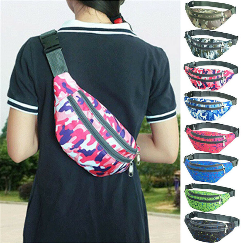 Galleria fotografica Bum Bag Waist Purse Pouch Camouflage Hip Fanny Pack Sports Holiday Travel Extension Belt Women Men Unisex