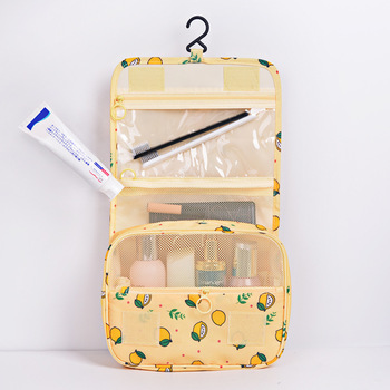 Multifunction Portable Cosmetic Bag Lemon Printing Wast Storage Travel Makeup Pouch Woman Make Up Bags Organizer Kit Beauty Case