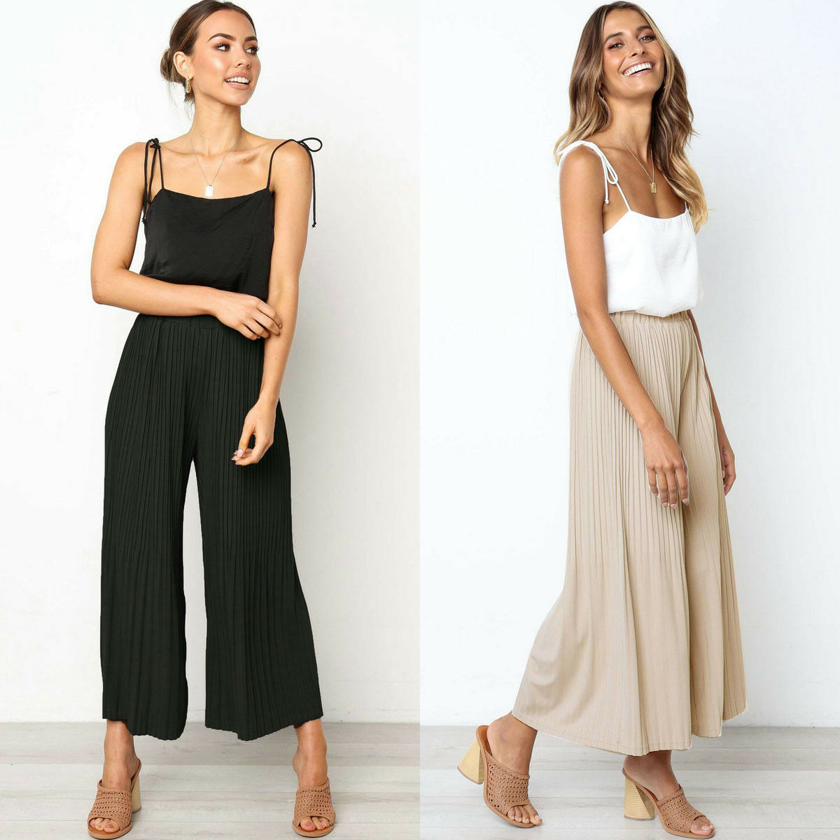 Women   Wide     Leg     Pants   Solid Color Elastic High Waist Loose Trousers Ladies Flare Long   Pants   Femme Summer Clothes Plus Size