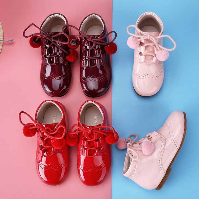 Kids Shoes Princess Girl School Shoes Red Pink Children Genuine Leather Party Dress shoes Little Girls boots Baby Casual Sneaker