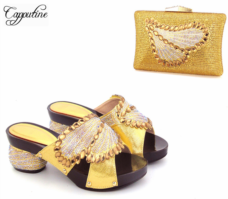 Capputine New Africa Pumps Shoes And Matching Bag Set Italian Style High Heels Shoes And Bag For Party Size 37-43 Free Shipping capputine high quality crystal super high heels shoes and bag set italian style woman shoes and bag set for wedding party g33