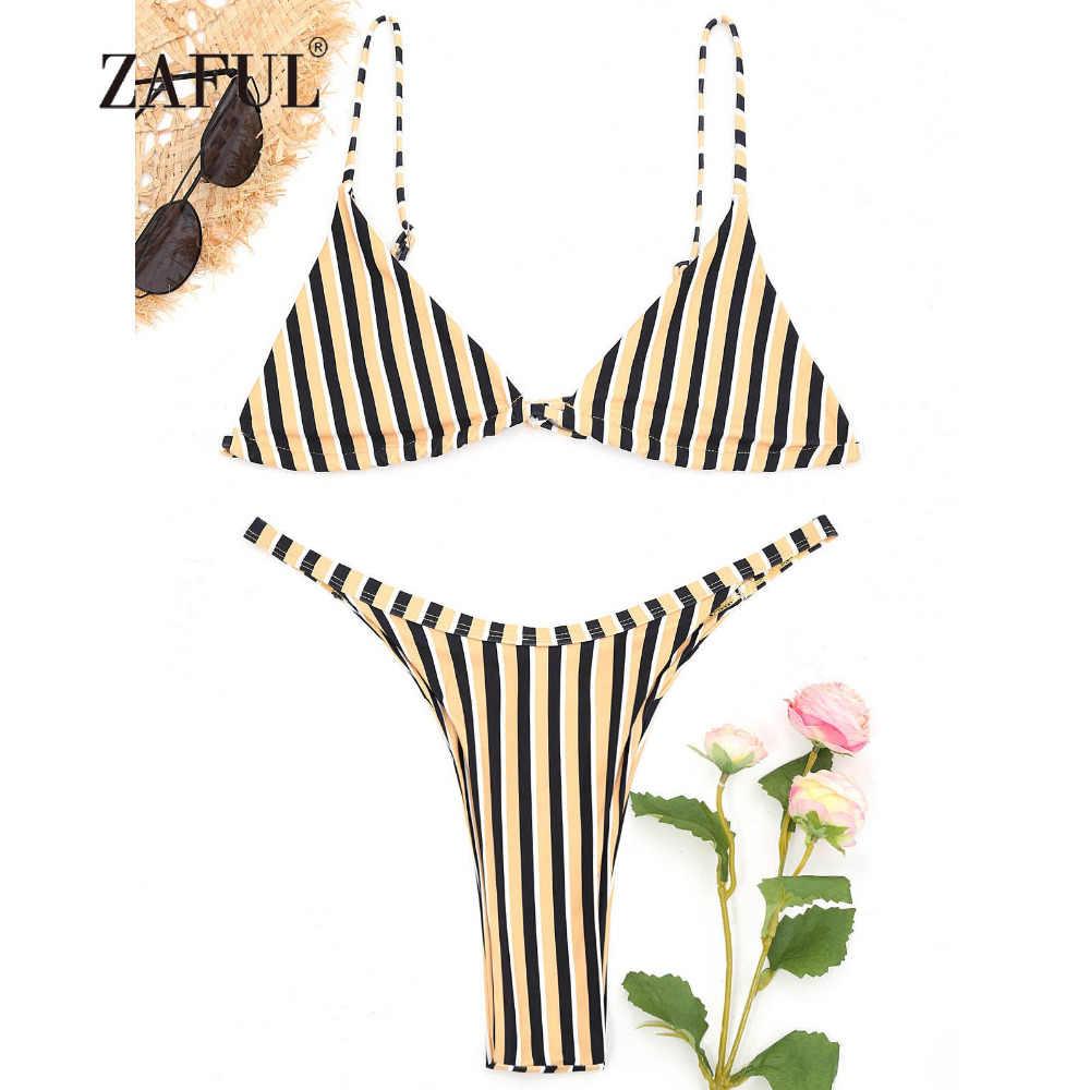 3c1079a68db ZAFUL New Swimsuit Women Bralette Striped Thong Bikini Set Two Piece Women  Swimwear High Cut Spaghetti