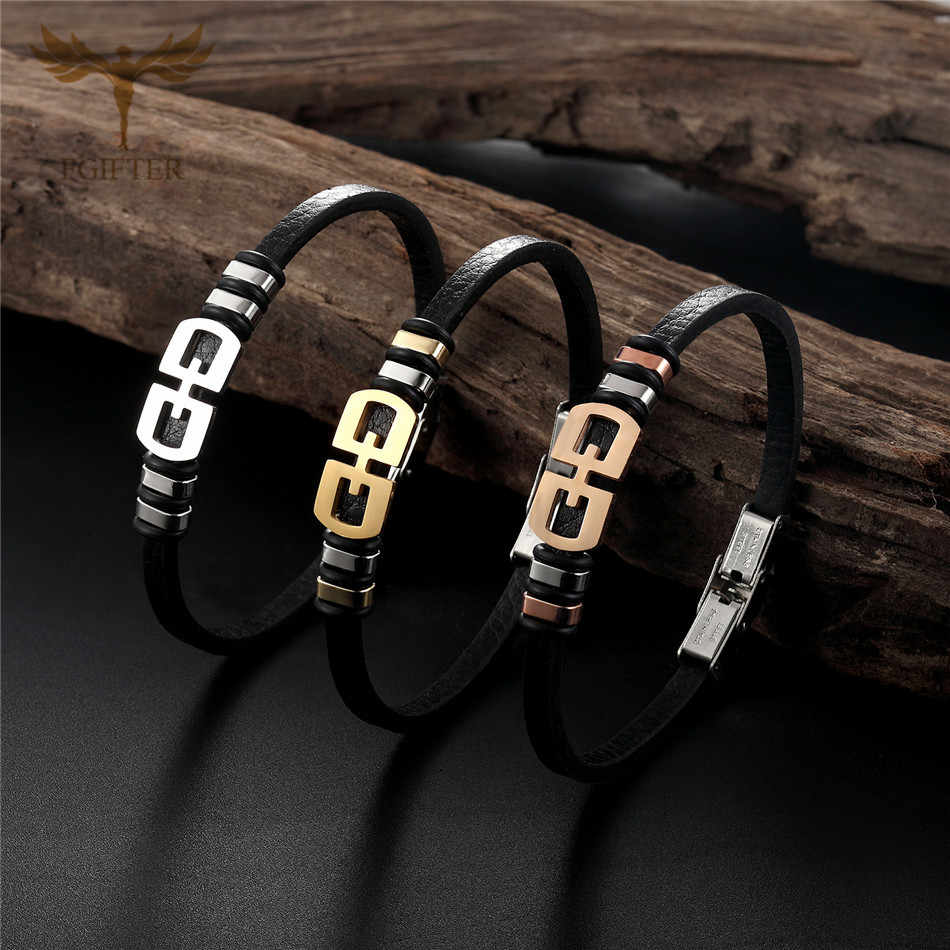 New Trendy Black Real Leather Bracelets Men Women Fashion Stainless Steel Double Safe Clasp Wristband Bracelets Bangles