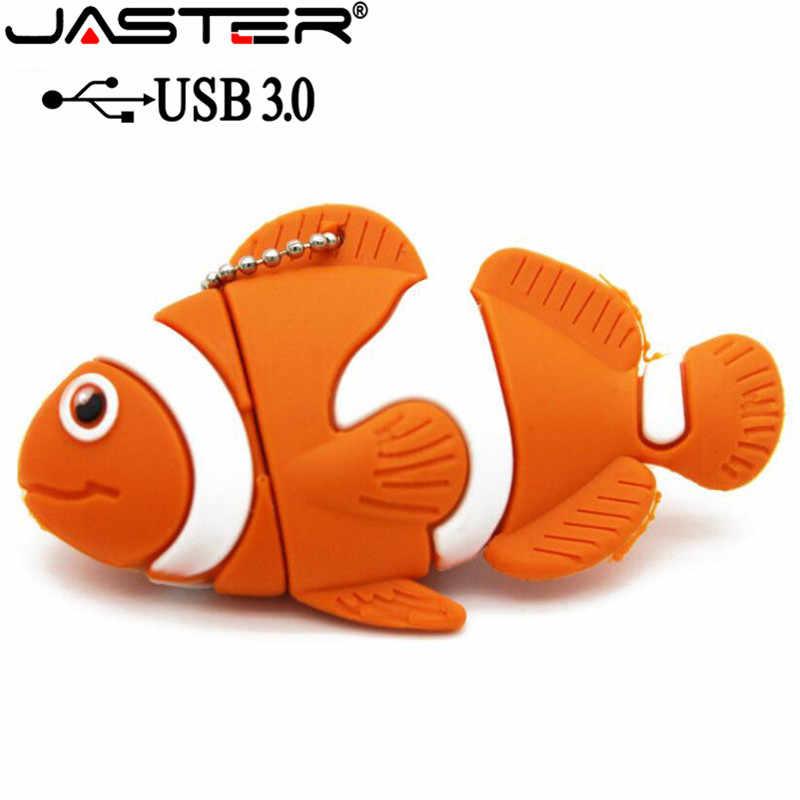 Флэшка в виде прищепки 3,0 милые Мультяшные животные рыба Usb флеш-накопитель карта памяти Флешка 4 ГБ 8 ГБ 16 ГБ 32 ГБ 64 ГБ u диск