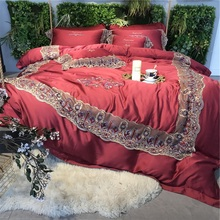 Red Wine Luxury Embroidery 100S Tencel silk Wedding Bedding set Queen King size Lace Duvet cover Bed sheet Linen Pillowcases