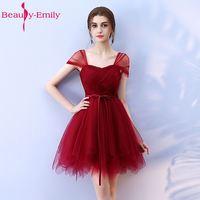 Beauty Emily Cheap Short Bridesmaid Dresses 2017 Vestidos De Madrinha De Casamento Sleeveless Knee Length Prom