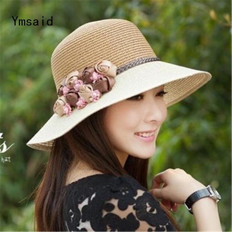 2017 Summer New Hot Fashion Female Casual Straw Simple Classic Hats Caps Women Korean Folding Flower Beach Sun Hats