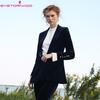 Women Notched long sleeve velvet suit blazer autumn fashion casual basic work office business blazer outwear casaco E7607