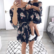 Mother Daughter Family Matching Outfits Off Shoulder Floral Dress Summer Chiffon Girl Women Boho Loose Dresses Sundress Clothes