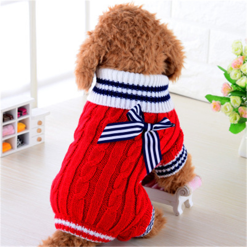 Soft Comfortable Cute Navy Pet Dog Sweater Clothing Bow Design Small Puppy Knit Coats Autumn Winter Dog Clothes XS-L