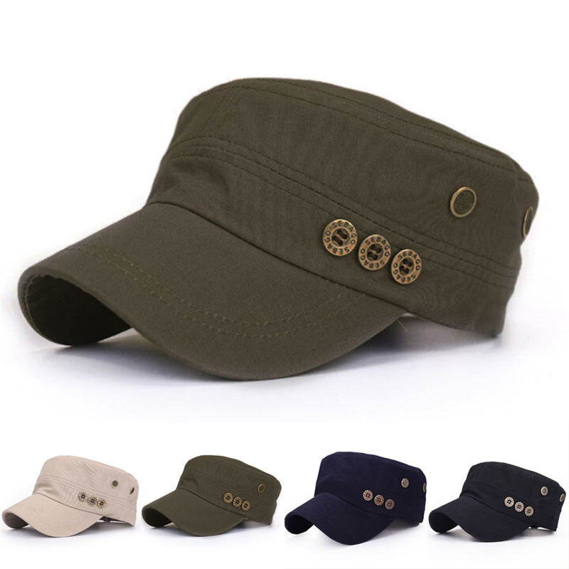 Adjustable Buttons Baseball Cap Army Patrol Cotton Flat Snapback Breathable Hats For Men