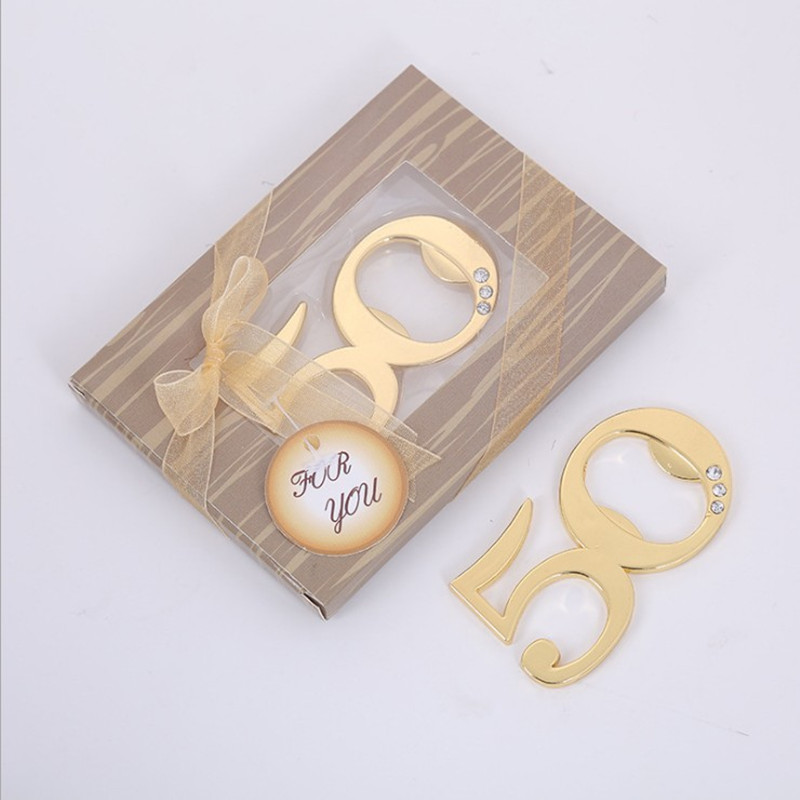 24pcs Golden 50 Beer Bottle Opener Favors Wedding Favours 50th Anniversary Birthday Party Decoration Gifts Souvenirs for guests