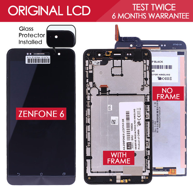 100% probado original de 1280x720 pantalla táctil de la exhibición del lcd para asus zenfone 6 a600cg a601cg t00g digitalizador asamblea protector libre
