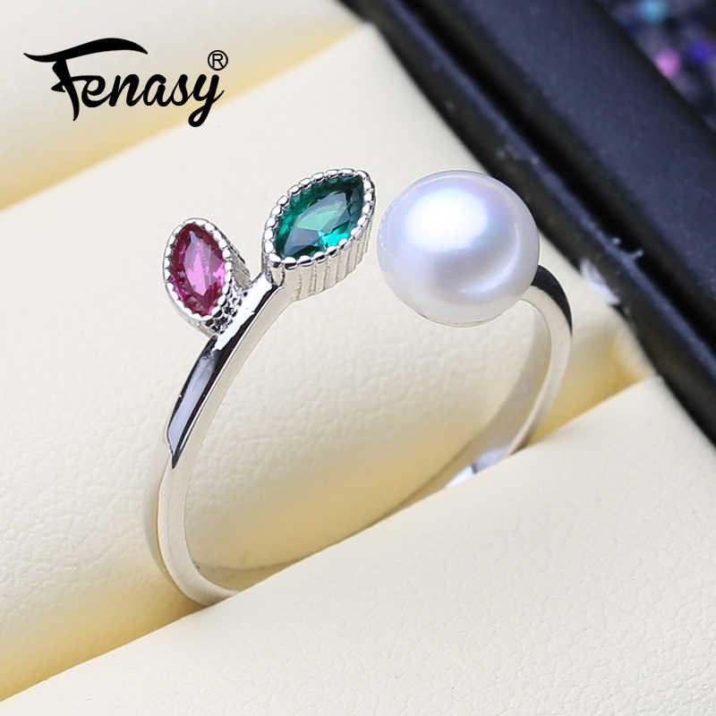 FENASY Pearl Jewelry 925 Sterling Silver Ruby Leaf Ring With Pearl Genuine Natural Freshwater Pearl Rings For Women