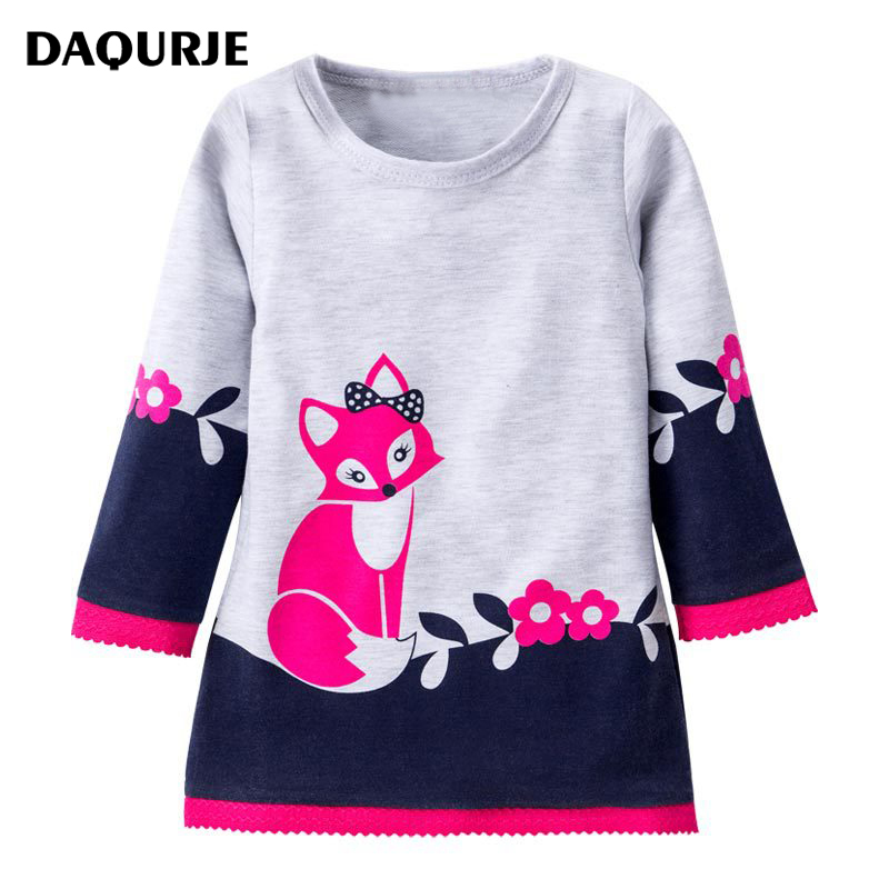Girls Dress Cartoon Foxes Pattern Kids Dresses For Girl 2-8Y Children Clothing Clothes Vestidos Costume Roupas Infantis Menina