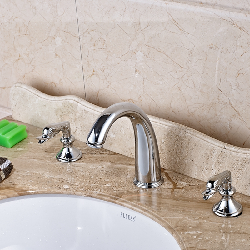 Elegant 3 pcs Chrome Brass Bathroom Basin Faucet Tub Sink Mixer Tap Widespread strategic management of built facilities