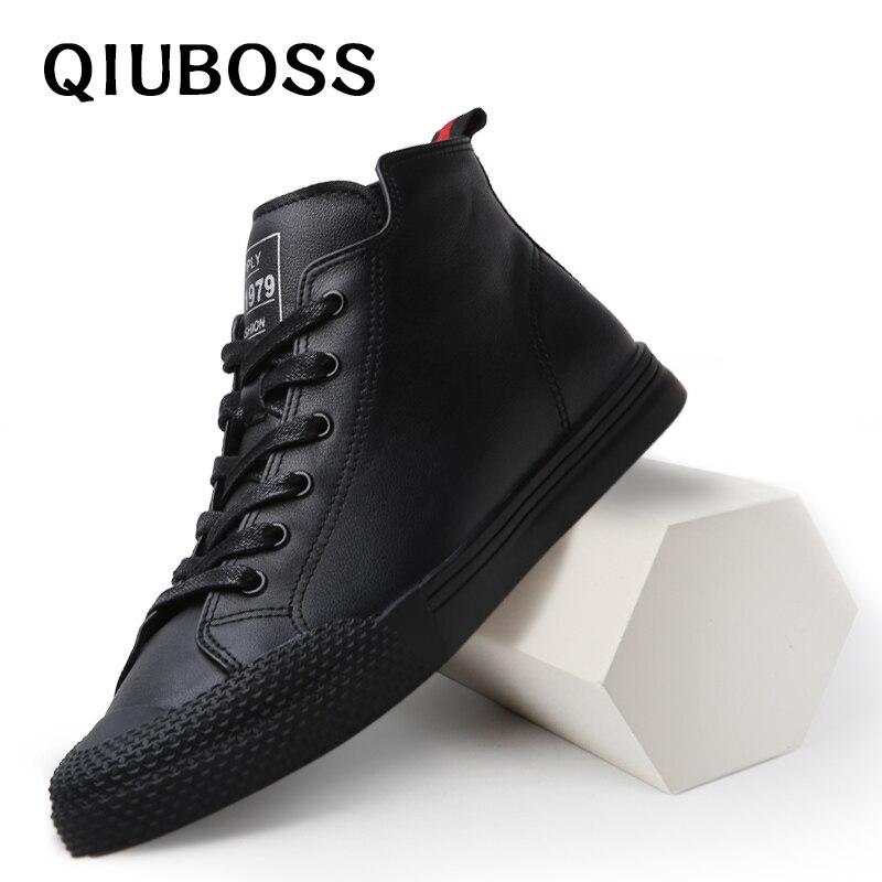 2018 New Men Boots Winter Black Leather Men's Boots Fashion Platform Ankle Boot Men High Quality Leather Autumn Men Shoes